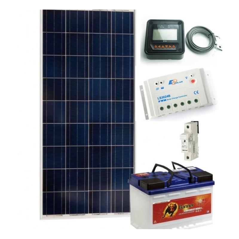 Solární systém 140Wp / 12V + 130Ah akumulátor