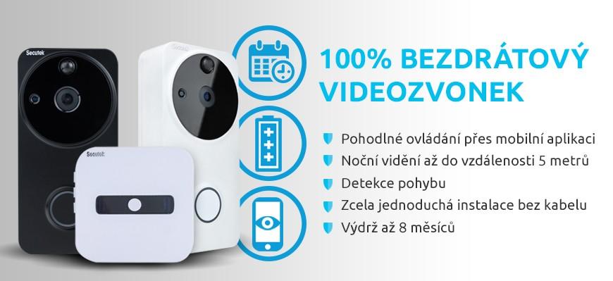 100 % bezdrátový videozvonek Secutek WiFi-801